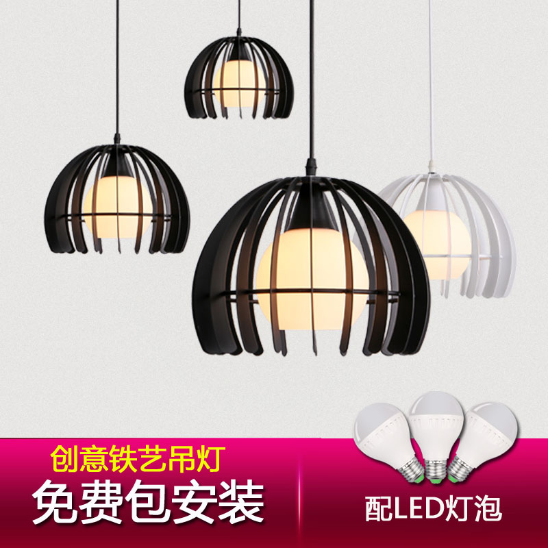 Package installation hot american black wrought iron lamp light white led lamps living room lights pendant lamp bar creative