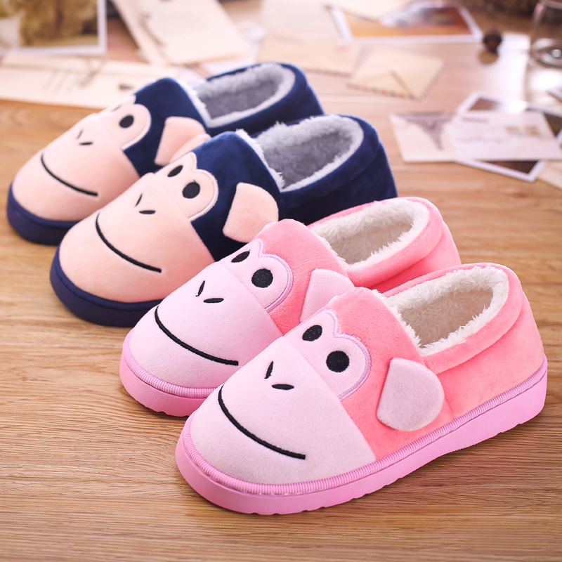 df48b808d Get Quotations · Package with cotton slippers thick crust men and women  winter home cute cartoon couple slip floor