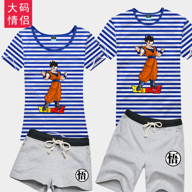 Pain yang dragon ball monkey short sleeve cotton cartoon shorts suit big yards sea striped shirt lovers student clothes