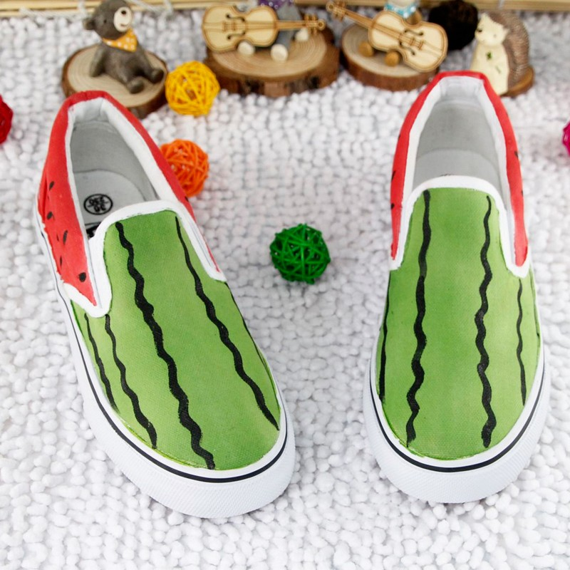 Painted watermelon shoes lazy set foot canvas shoes women shoes student couples parenting children in summer and autumn shoes shallow mouth single shoes