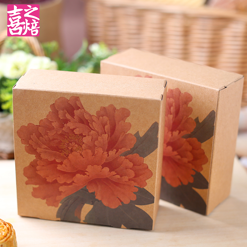 Painting peony hi baking west point box tart baking gift packaging box snack cakes yolk 4 tablets of 2 into