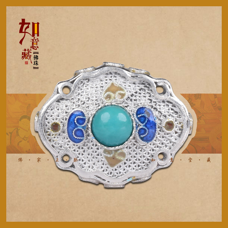 Palit lay original boutique qing style 925 silver flower silk inlay turquoise back cloud beads back cloud accessorise h