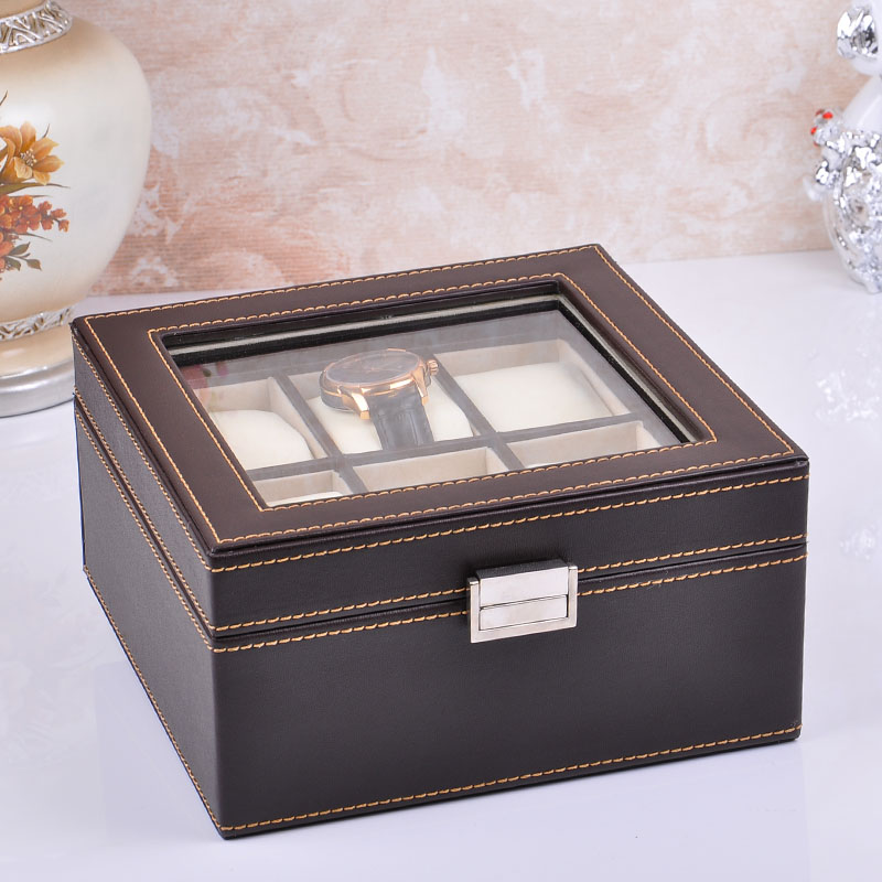 Pan ya double leather watch box 6 epitope watch box watch display box collection box jewelry storage