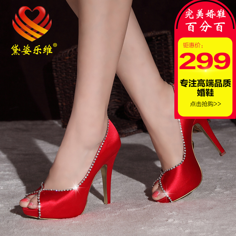 Paragraph silk new bridal shoes wedding shoes red satin high heels waterproof shoes high heels shoes wedding shoes