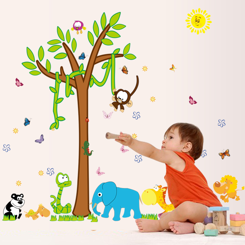 Park children's room kindergarten cartoon baby animal world removable wall stickers bedroom background wall decorations wall stickers