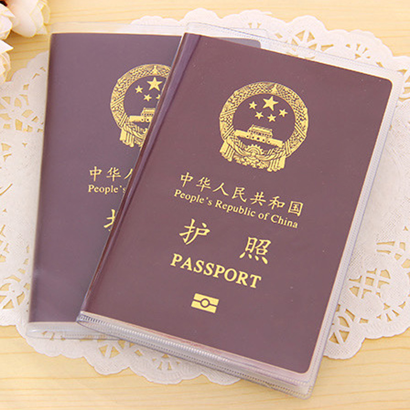 Passport cover travel passport holder sets of documents package frosted transparent protective cover passport holder passport document sets protective photo
