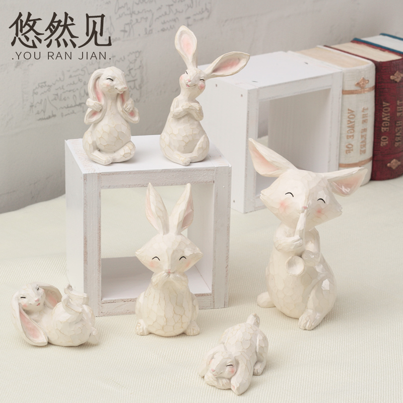 Pastoral creative home gifts cute rui bite rabbit small animal ornaments resin living room decorative furnishings