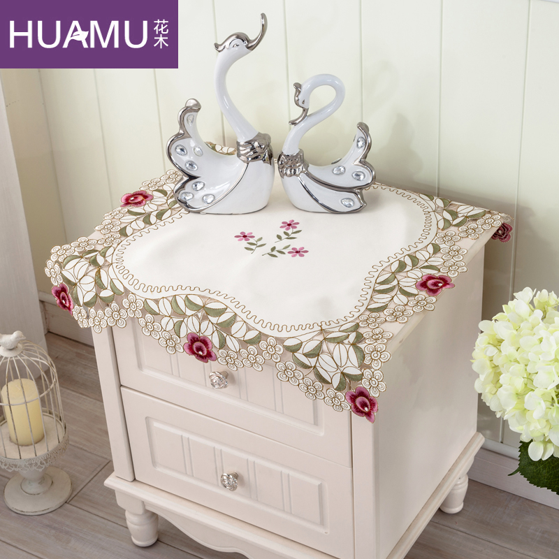Pastoral embroidered flowers and more with a small bedside cabinet bedside cabinet cover bedside cabinet bedside cabinet cover cloth tablecloths cover towel tv refrigerator air conditioning