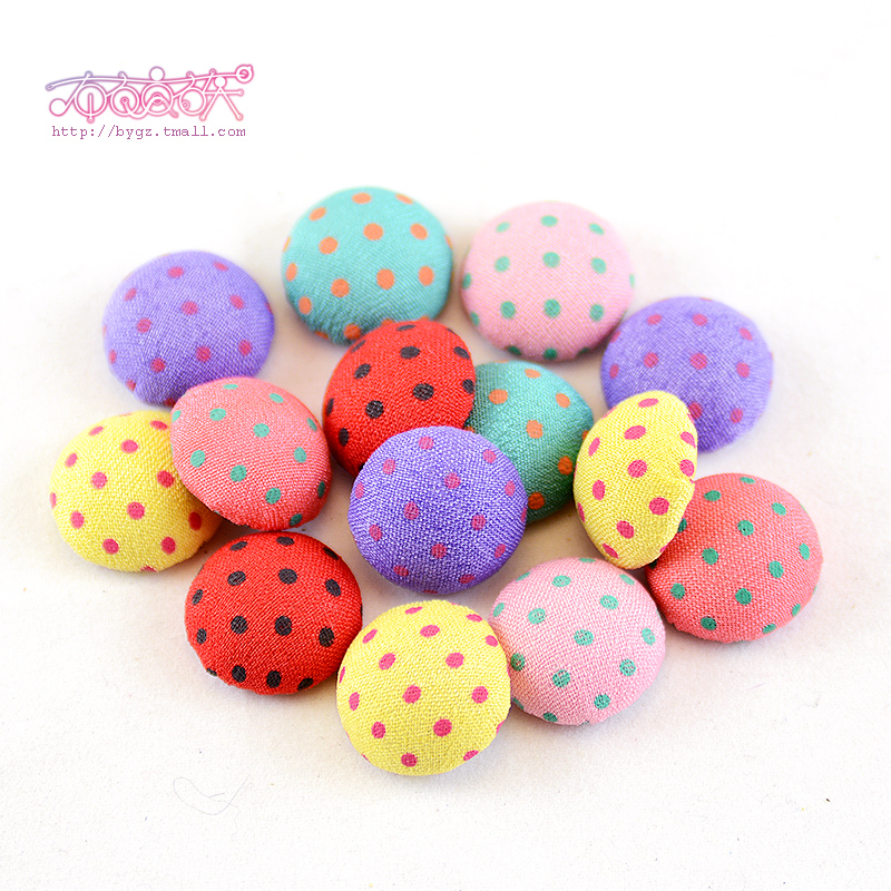 Patchwork diy handmade cloth fabric covered buttons polka dot plaid buckle mobile beauty diy jewelry accessories