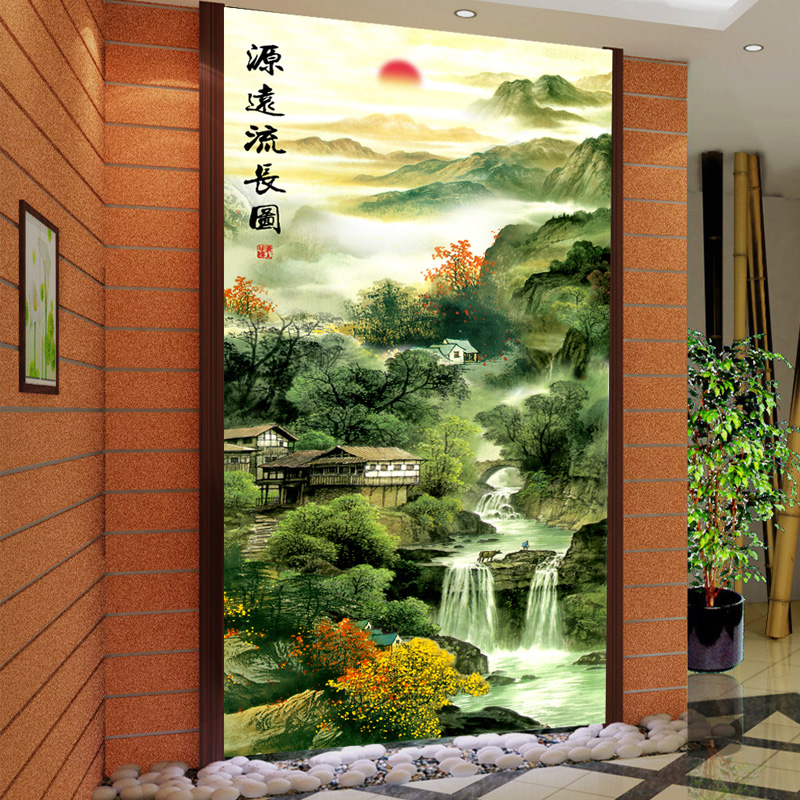 Peace of mind landscape corridor wall painting decorative painting modern minimalist entrance hallway vertical version of chinese living room bedroom wall stickers