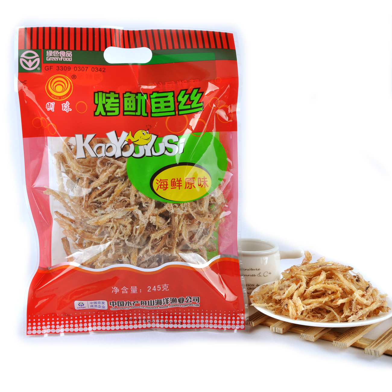 Pearl zhoushan specialty dried seafood snacks ready to eat grilled squid grilled shredded squid pieces seafood snack 245g
