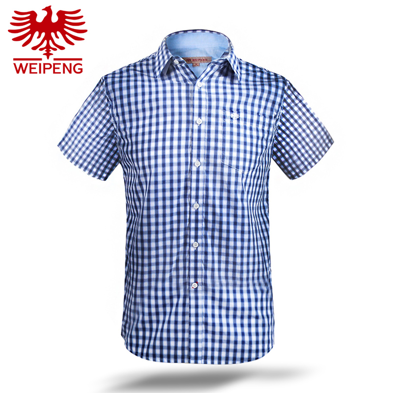 Peng new 2016 summer men short sleeve plaid shirt and blue spell color fashion casual men's shirts 263103
