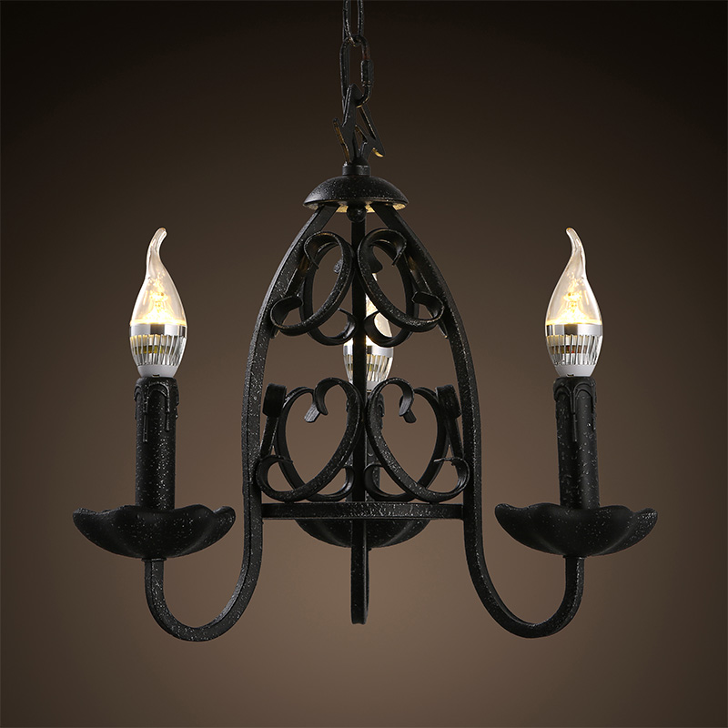 Pengda personality american country wrought iron candle chandelier creative restaurant retro living room bedroom lighting three