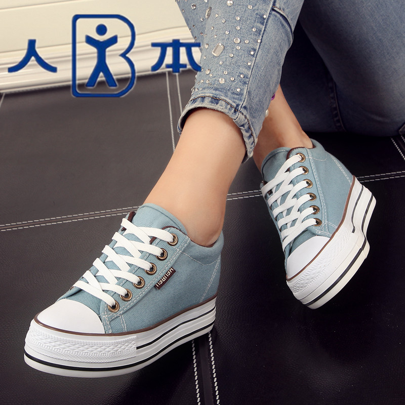 People authentic canvas shoes women muffin thick crust within the higher spring shoes pure black casual shoes women shoes student shoes