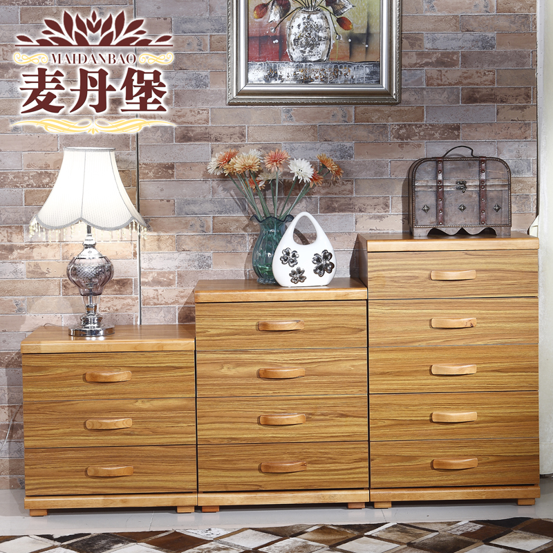 Personality of modern chinese combination of solid wood chest of drawers drawers four doo doo cabinet storage cabinet three drawers chest of drawers chest of drawers wood color