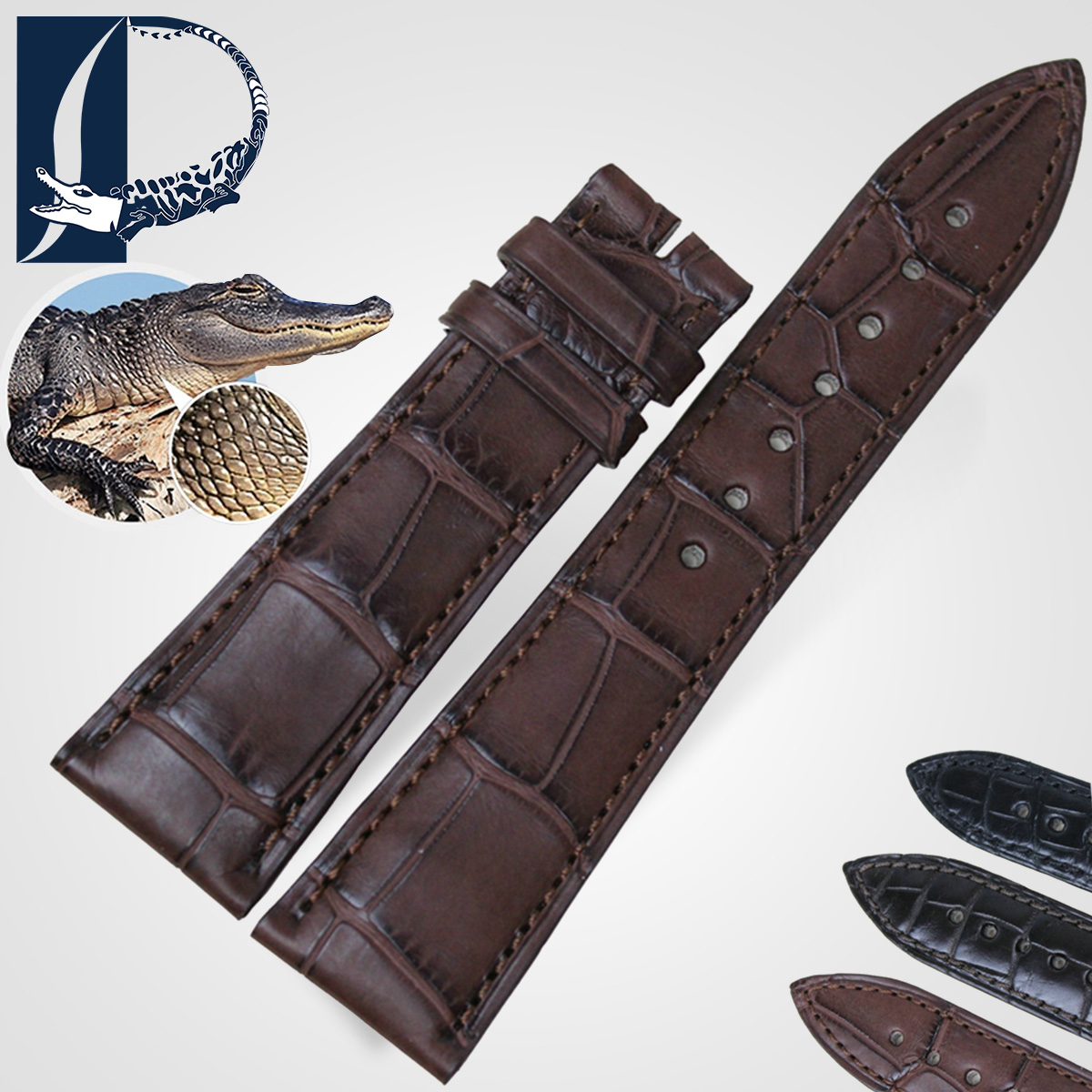 Pesno alligator strap replacement blancpain blancpain blancpain moon phase 22MM black and brown leather watch band