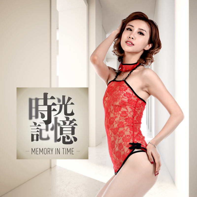 Phantom of the opera oriental red retro openwork lace collar short paragraph cheongsam sexy sleepwear nightgown qj