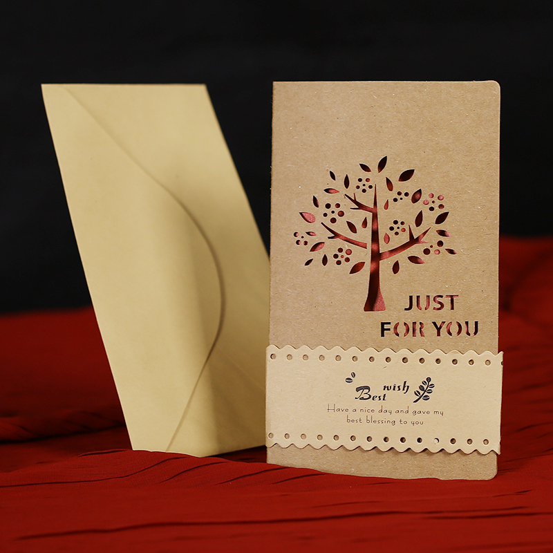 Philippines to find a hollow carved retro kraft paper greeting cards thanks thanksgiving birthday gift couple hand work card korea