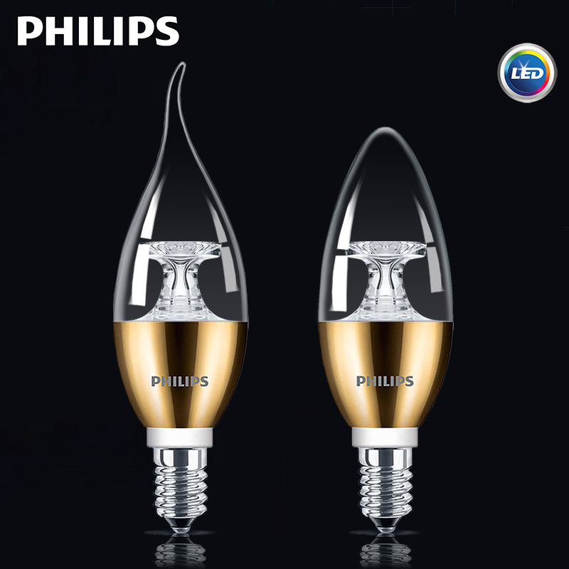 Philips led bulb e14 screw bulb candle pull tail tip bubble bright golden hanging light bulb energy saving light source