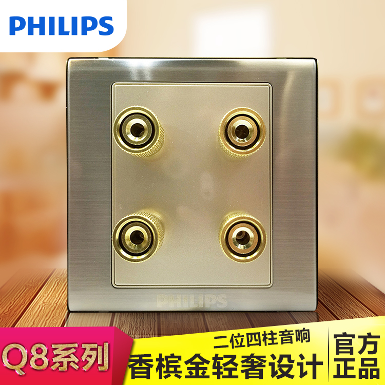 Philips Switch Socket Q8 Thin Plate Brushed Metal Surface Champagne Two Audio Jacks