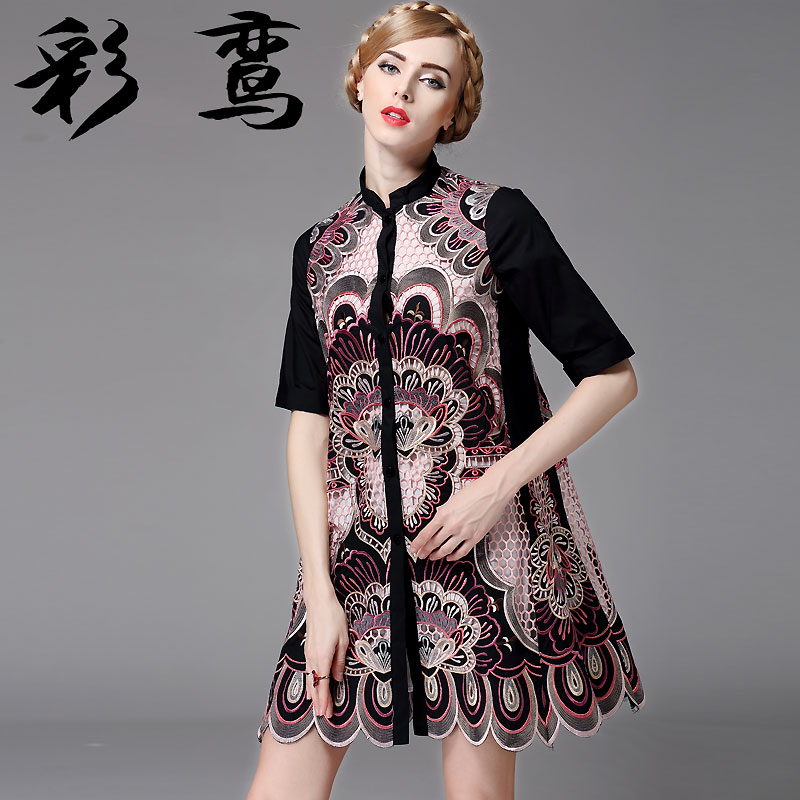 Phoenix color 2016 spring and autumn new high ethnic chinese women retro hollow flower embroidery large size dress