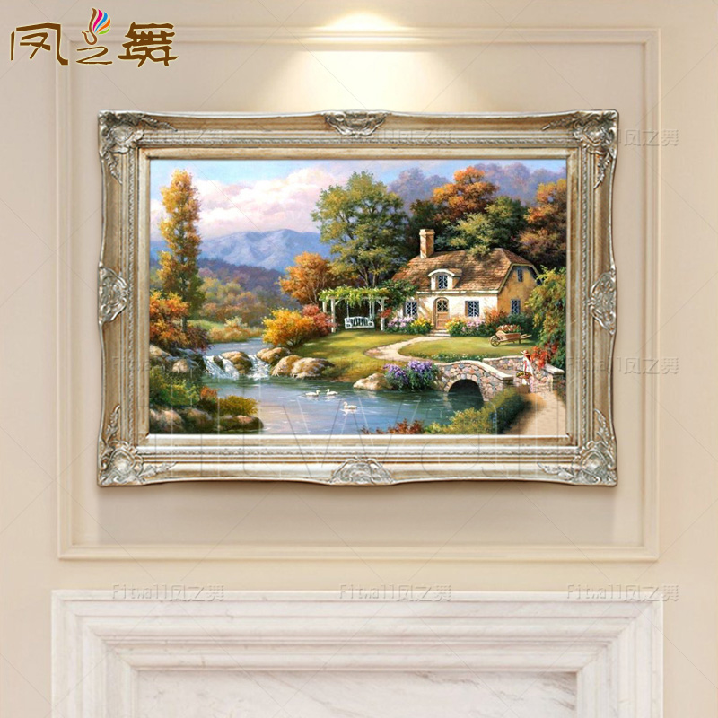 Phoenix dance FH196 bridges landscape garden villa living room entrance european painting painted mural painting off