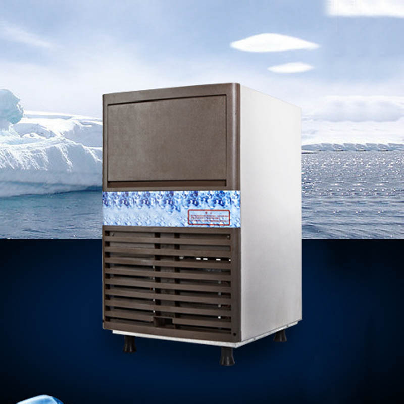 Photosynthetic 50KG commercial ice machine ice machine ice machine tea shop ktv bar home ice machine ice machine ice machine stainless steel housing
