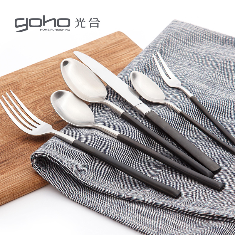 Photosynthetic spirit 304 stainless steel spoon western cutlery suit steak knife and fork spoon fruit dessert fork spoon six sets