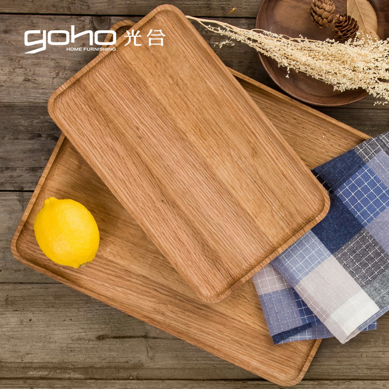 Photosynthetic spirit natural oak wood pallets pizza tray wooden tray bread tray rectangular tray fruit plate coffee roasting