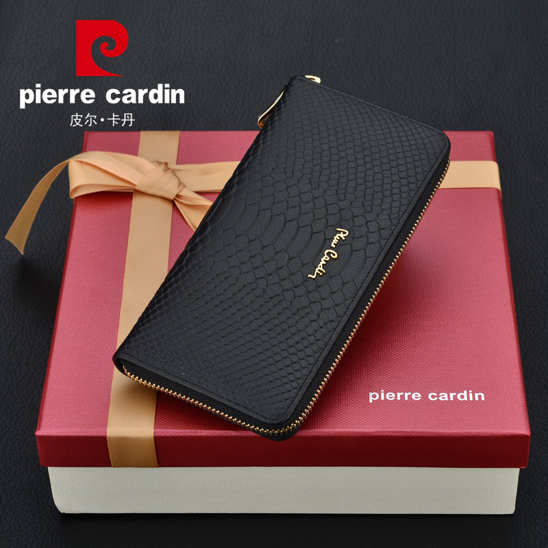 Pierre cardin 2016 new ms. long wallet women leather wallet female long section of zipper purse gift box