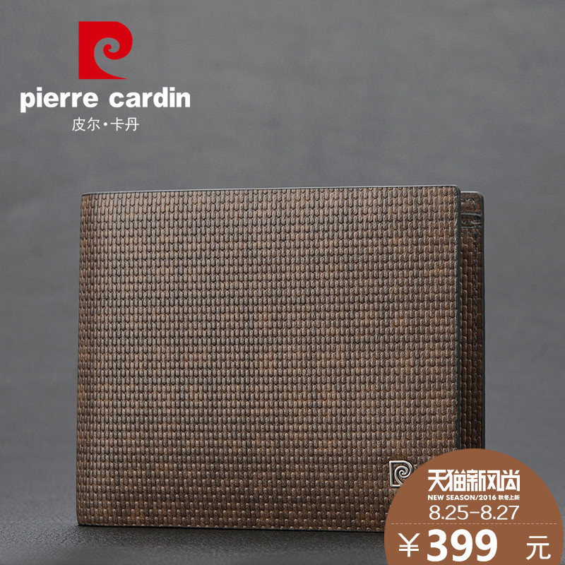 Pierre cardin fashion plaid brand first layer of leather wallet short paragraph wallet men wallet genuine leather wallet tide