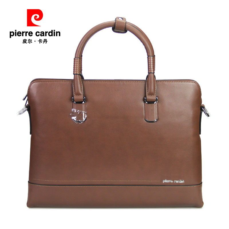 Pierre cardin/pierre cardin leather briefcase business casual brown leather hand bag cross section