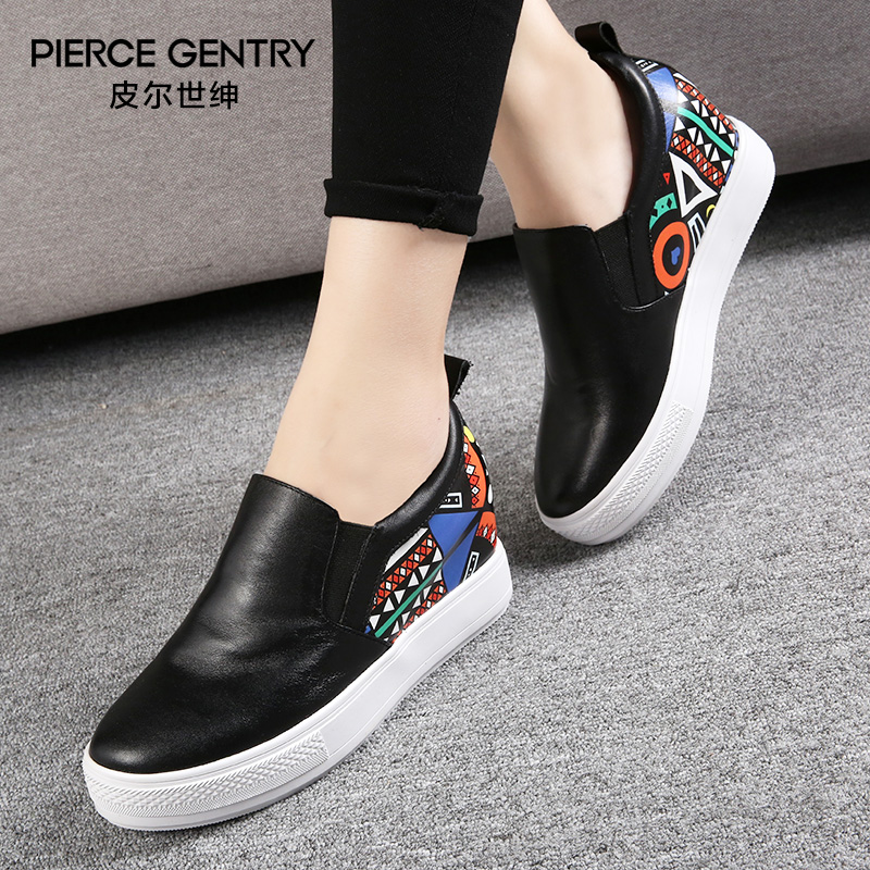 Pierre world gentry leather loafers shoes women 2016 autumn new printing casual shoes increased within the thick crust deep mouth shoes