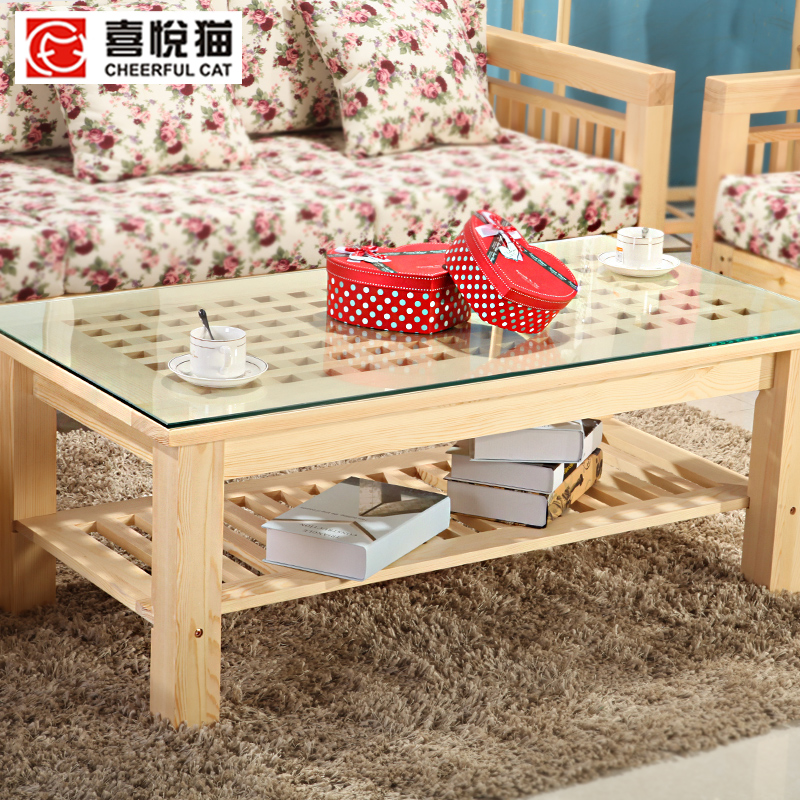 Pine wood furniture tea table tea table and chair combination living room rectangular shaped pine wood small coffee table glass coffee table tops