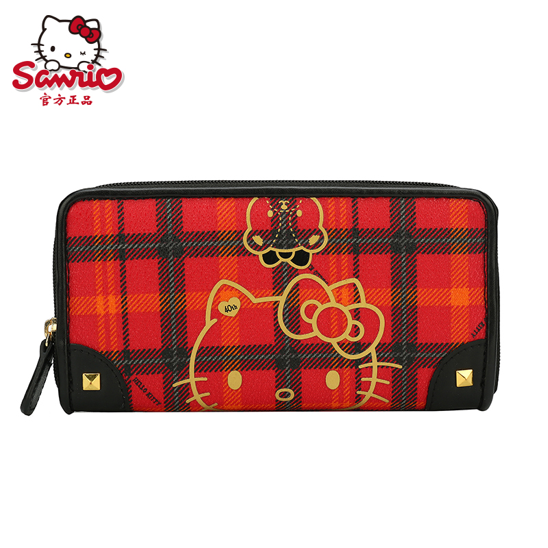 9f725996df Get Quotations · Plaid series of 40 anniversary of hello kitty wallet long  wallet cute girls