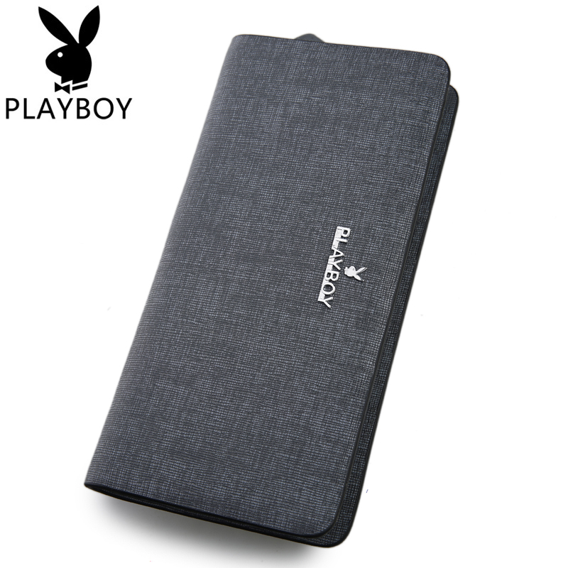 Playboy/playboy men's leather wallet long section of the long zipper wallet men's leather clutch handbag