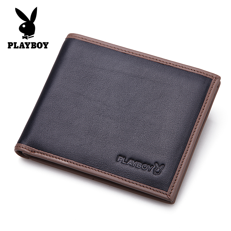Playboy/playboy men's wallet short paragraph genuine leather wallet cross section header layer of leather wallet