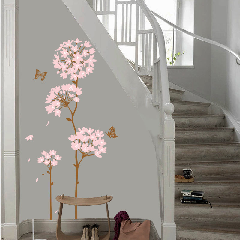 Pleasant floral wall stickers bedroom living room wall stickers room decor wall klimts creative background wall stickers