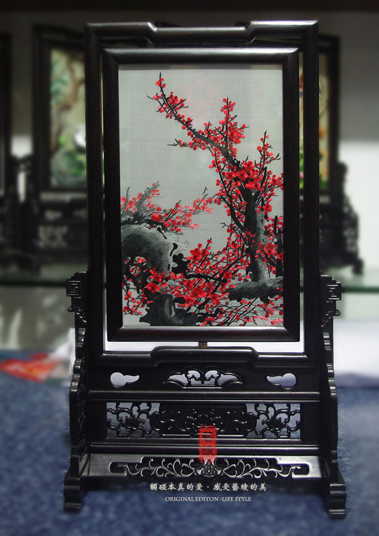 Plum aoxue bloom handmade silk embroidery art embroidery suzhou embroidery sided embroidery units screen ornaments chinese classical gift abroad