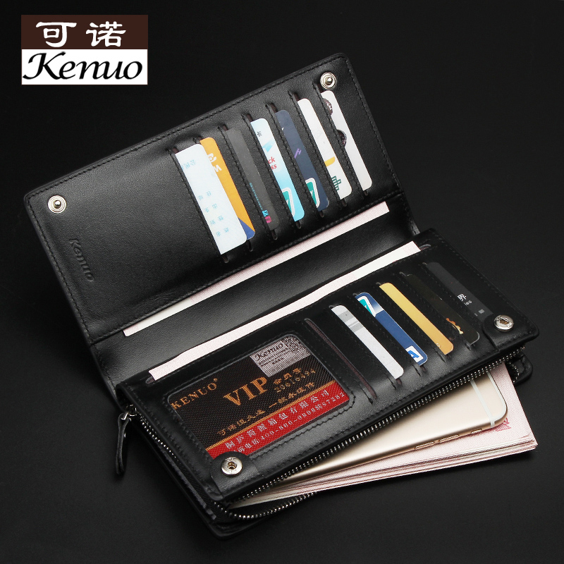 Pocono leather zipper handbag long section of the first layer of leather wallet card bit more wallet men wallet phone package