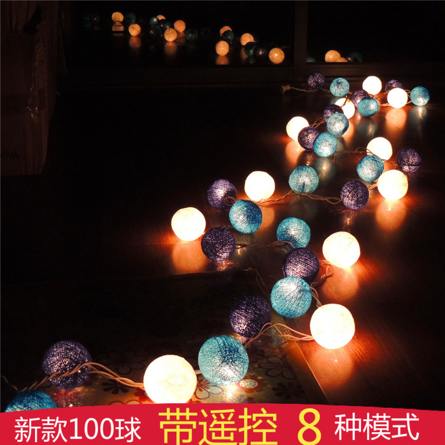 Poem maha thai cotton ball line ball lights holiday string lights decorative lights string lights flashing string lights creative balcony