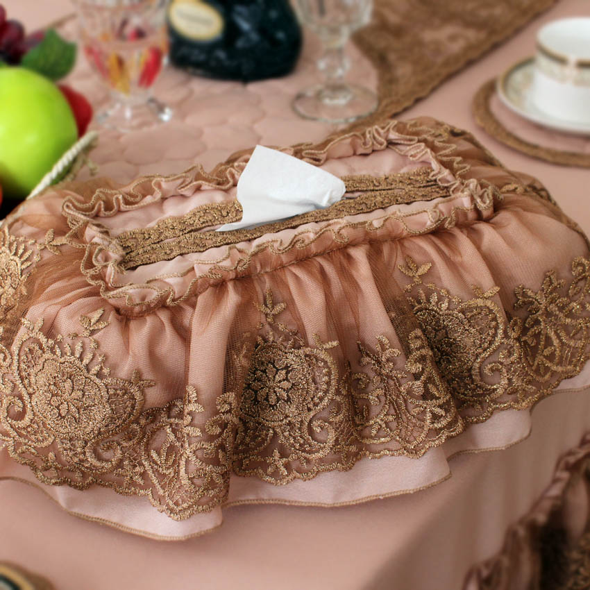 Poetry dambeck upscale lace fabric tissue box cover removable european pastoral household tissue pumping new