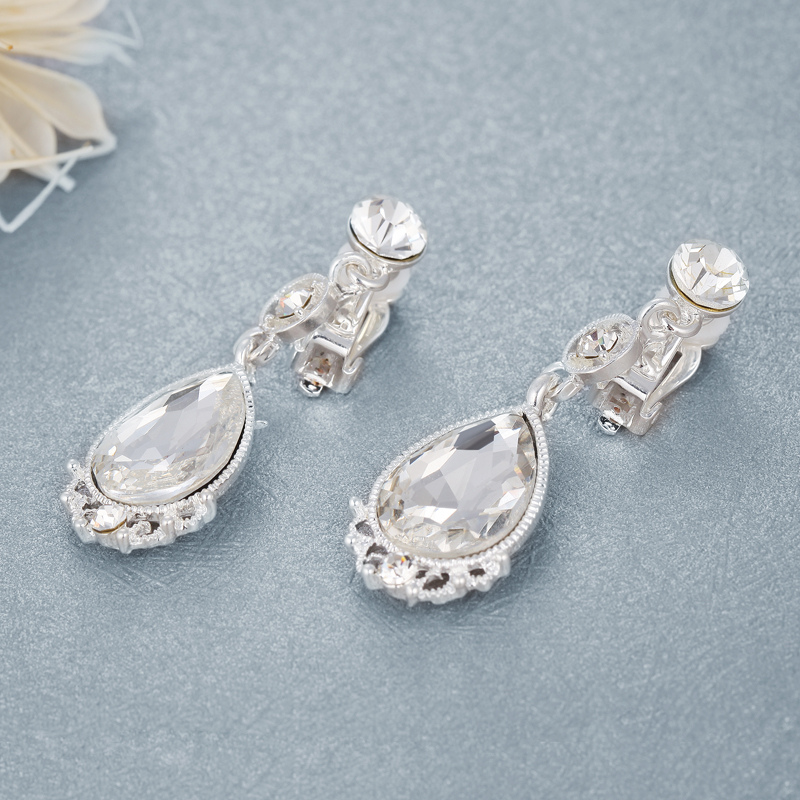 Poetry jiaqi na flowers. bridal diamond ear clip earrings non pierced earrings earrings long paragraph korean wedding