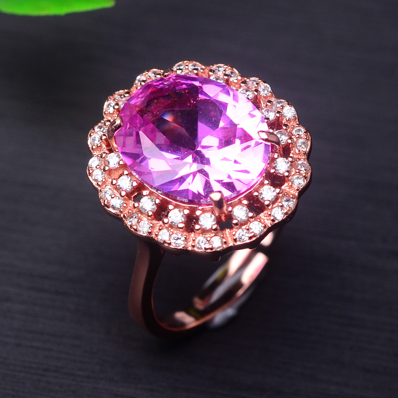 Poetry man jewelry handmade inlaid rose gold plated 925 silver ring inlaid gretl hong kong style trade european and american style fashion
