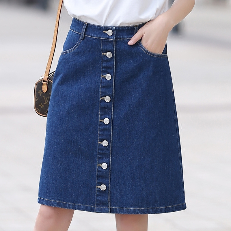 Poetry muya 2016 summer korean version of the denim skirt single breasted denim skirt skirt skirts a word skirt package hip skirt women