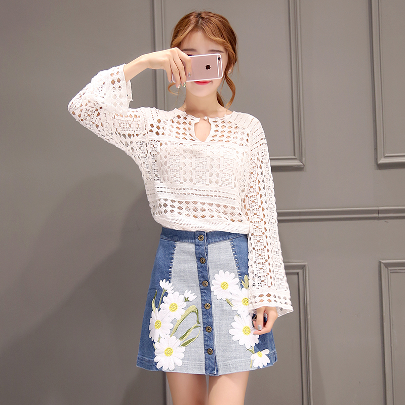 Poetry muya korean version 2016 summer new singles breasted embroidered a-line denim skirt skirt package hip skirt women