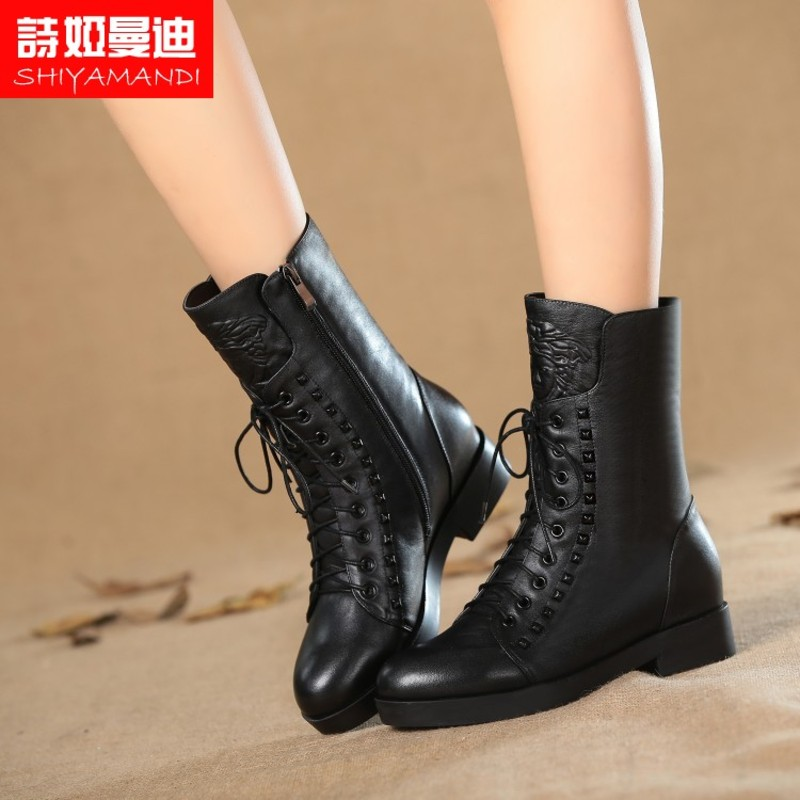 Poetry ya mandi shoes trend in the tube boots boots boutique ladies low heel shoes side zipper casual fall and winter boots soft surface