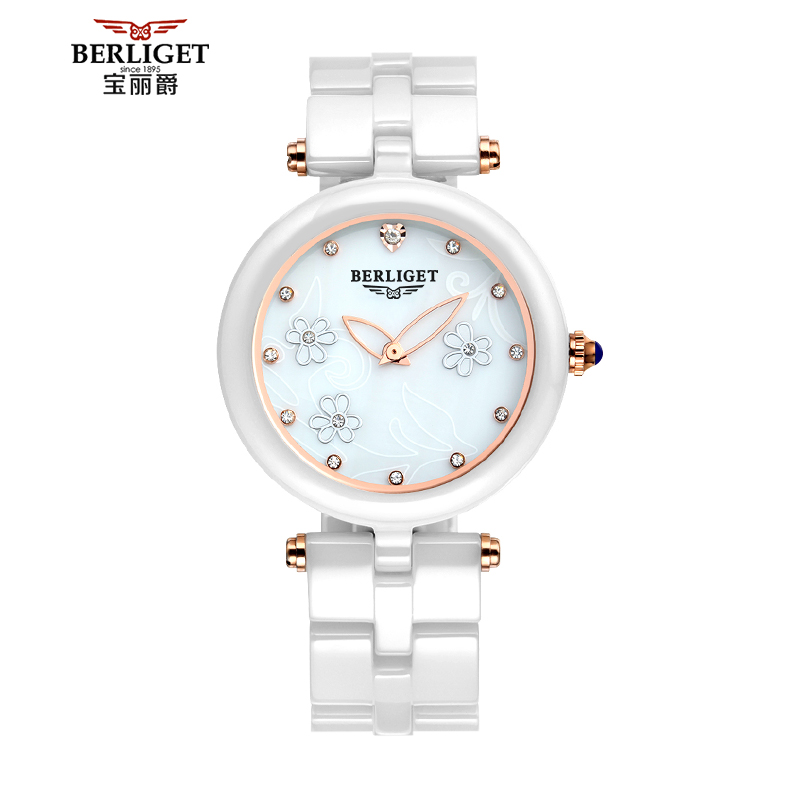Polaroid jazz slim ladies diamond watch quartz watch fashion ceramic watches female white diamond waterproof female form tide
