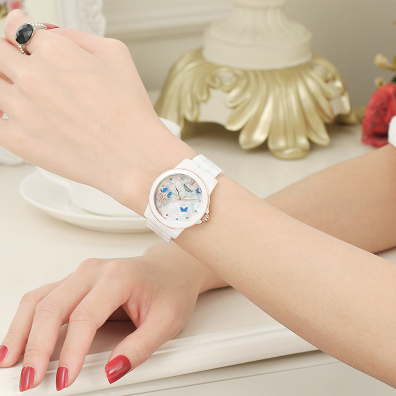Polaroid jazz white ceramic watches female korean fashion ladies watches waterproof quartz watch fashion female form