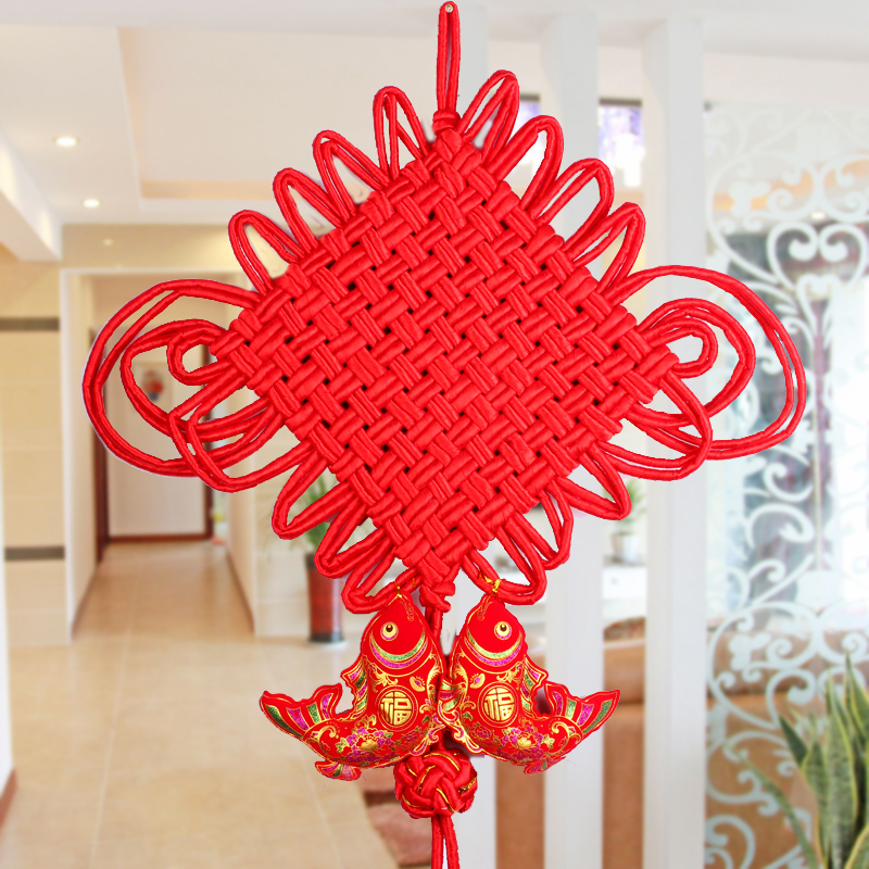 Poly edge court chinese knot festive handmade feng shui ornaments pisces chinese knot pendant decorated marriage room layout supplies
